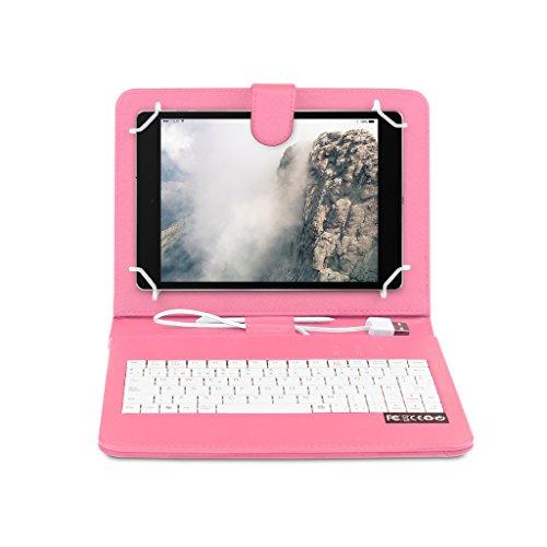 OME® Funda con teclado Tablet 7 pulgadas con conexión MicroUsb-OTG (Rosa)