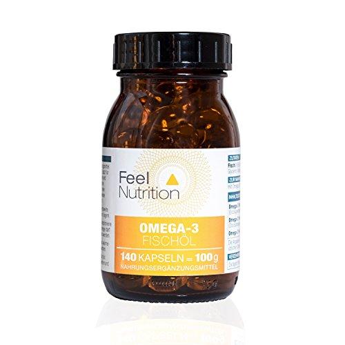 Omega-3 Fischöl - IM GLAS - Pro 3 Kapseln 225 mg EPA und 150 mg DHA - OHNE Carrageen – 140 Kapseln - Deutsche Premiumqualität