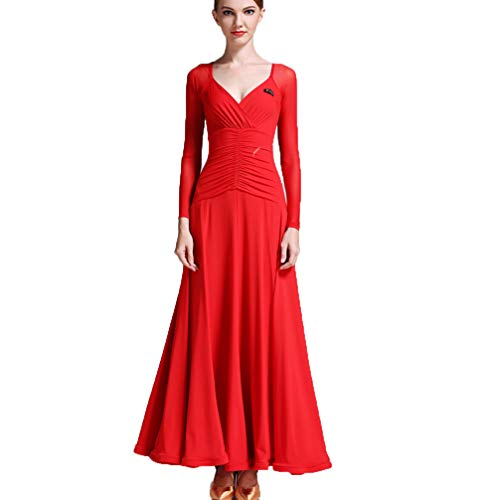 V-Ausschnitt Mesh Langärmlig Tanzkleider für Damen Trainieren Strecken Glatt Einfach Klassisch Walzer Tango Tanz Trainingsanzug ()