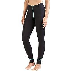 XAED - Pantalón térmico para mujer (mediano, negro/turquesa)