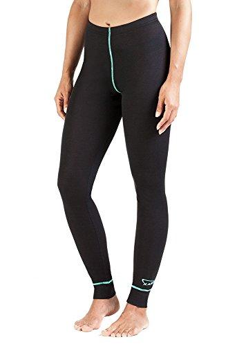 XAED - pantaloni termici, da donna, Medium, colore nero / turchese