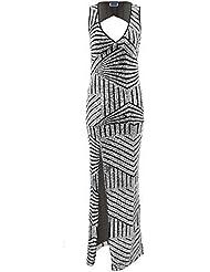 SAPHIR BOUTIQUE Femmes Sans Manches Dos Découpe Col V Fente Côté Sequin Sexy Robe Longue Maxi
