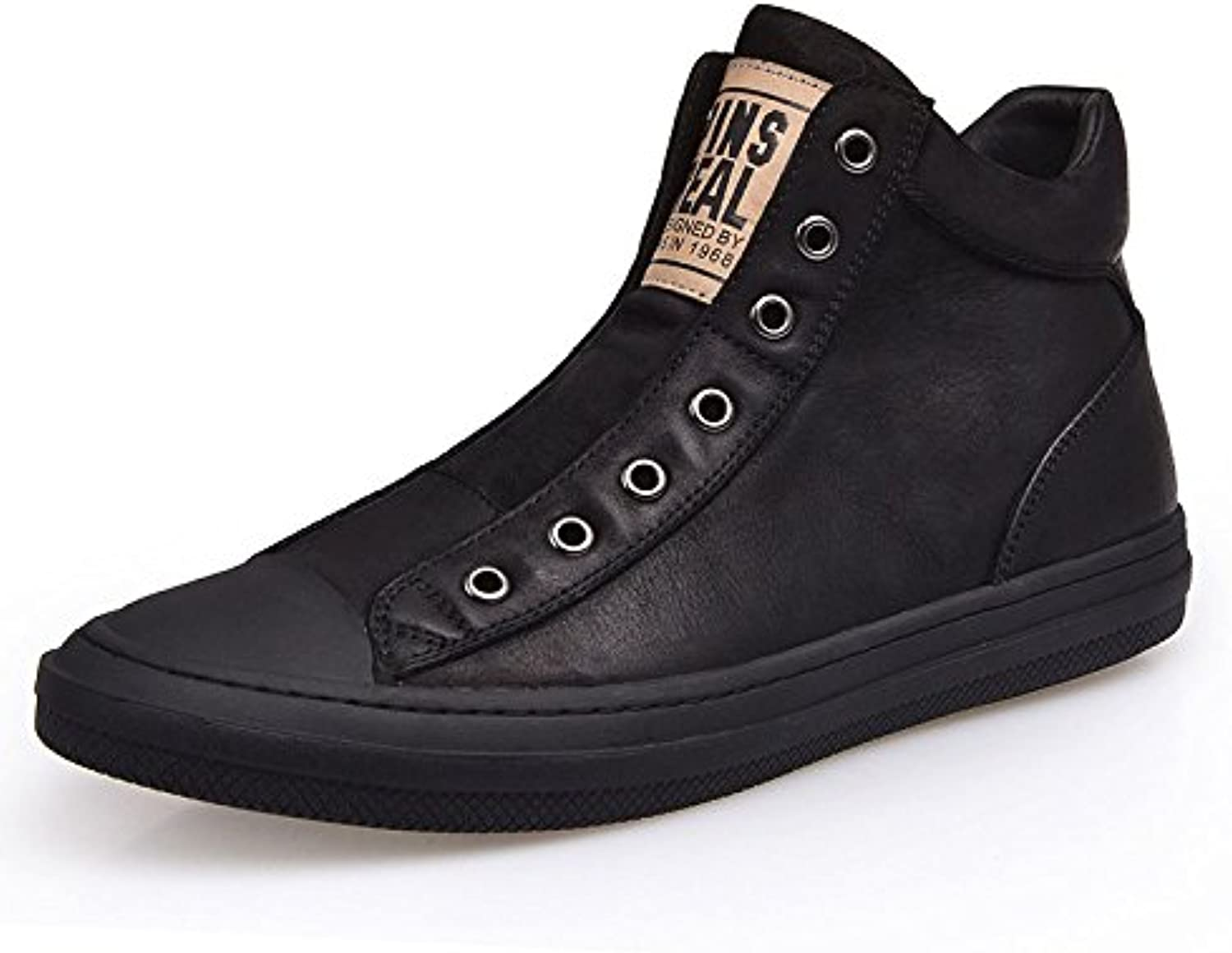 MUYII Herren Leder Turnschuhe Mode High Top Skateboard Schuhe Slip on Casual Stiefel Trainer Casual Street Sport