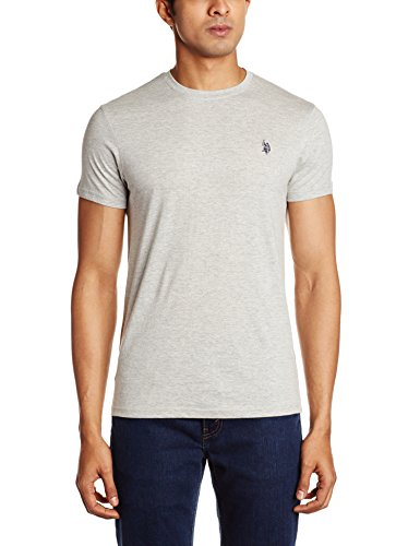 U.S. Polo Assn. Men's Crew Neck Cotton T-Shirt (I030-010-P1-M Grey Melange)  available at amazon for Rs.299
