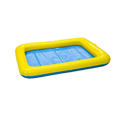 UMOI Aufblasbarer Mini Sandkasten für Supersand, Magic Sand, Zaubersand, Kinetischer Sand (Gelb Blau)