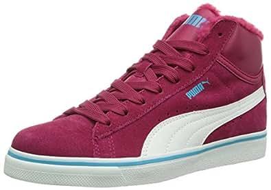 Puma Puma Mid Vulc FUR Jr, Unisex-Kinder Hohe Sneakers, Rot (cerise-white-blue atoll 12), 33 EU (1 Kinder UK)
