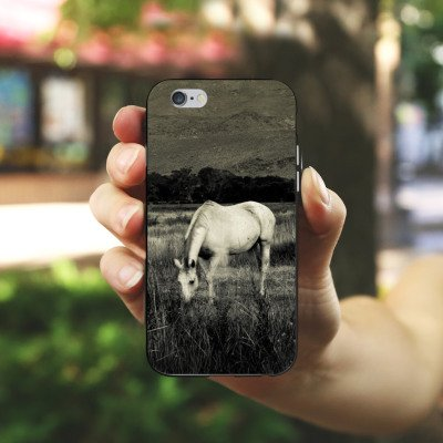 Apple iPhone X Silikon Hülle Case Schutzhülle Pferd Stute Hengst Silikon Case schwarz / weiß