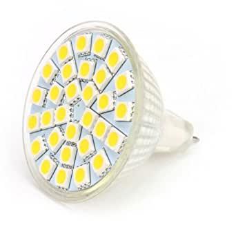 10 X Ampoules LED MR16 (GU5.3) 27SMD 5W 420lm Blanc Froid 6000k 120° angle 12V AC DC
