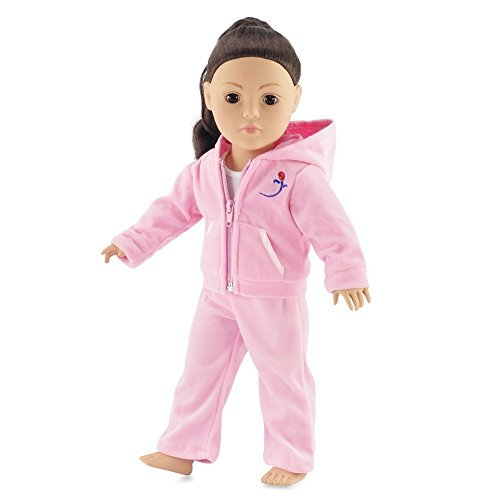 Pink Velour Juicy Jogging Suit Fits American Girl Dolls | 18 Inch Doll Clothes | Includes White Tank Top by Emily Rose Doll Clothes (Kids Schuhe Juicy)