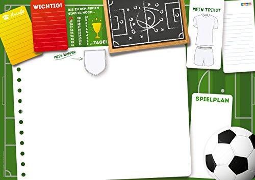 Lustige Schreibtischunterlage Fußball 25 Blatt zum abreißen Format DIN A3 Jungs Mädchen Kinder To-Do Notizen Papier Schreibtischauflage Wochenplan ausmalen Trikot Wappen für zu Hause oder Büro (Baby Rucksack Kostüm)