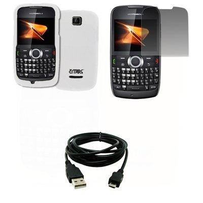 EMPIRE Weiß Gummierte Harte Case Tasche Hülle Cover + Displayschutzfolie Film + USB Datenkabel Data Cable for Boost Mobile Motorola Theory X430 Boost Mobile Motorola