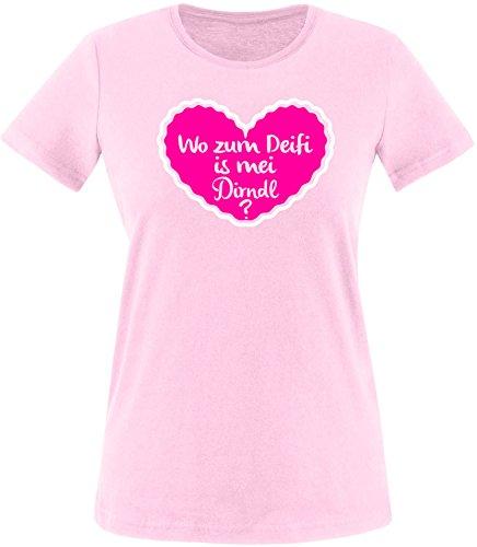 Luckja Wo zum Deifi is mei Dirndl Damen Rundhals T-Shirt Rosa/Weiss/Pink