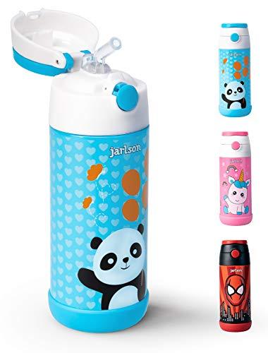 Jarlson Trinkflasche für Kinder | Innovative Thermo Edelstahl Flasche 350ml - BPA frei und auslaufsicher | Kinderflasche mit Strohhalm | perfekt für Schule, Sport, Kindergarten