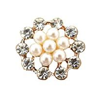 10 x Rose Gold Round Shaped Pearl and Diamante Cluster Sparkly Embellishments Gems