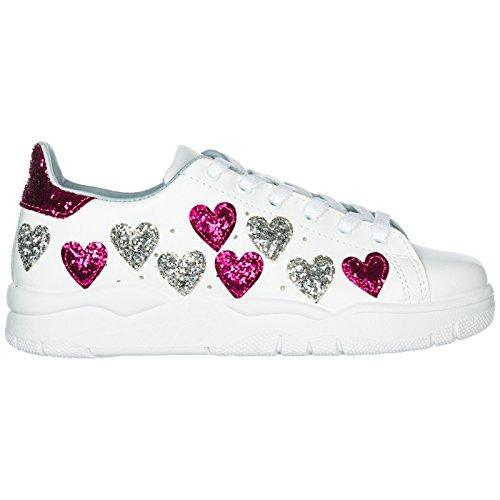 732f5b17b38b52 CHIARA FERRAGNI Sneakers White Hearts FX/Silver 3 CF2070-A Nuova Collezione  A/