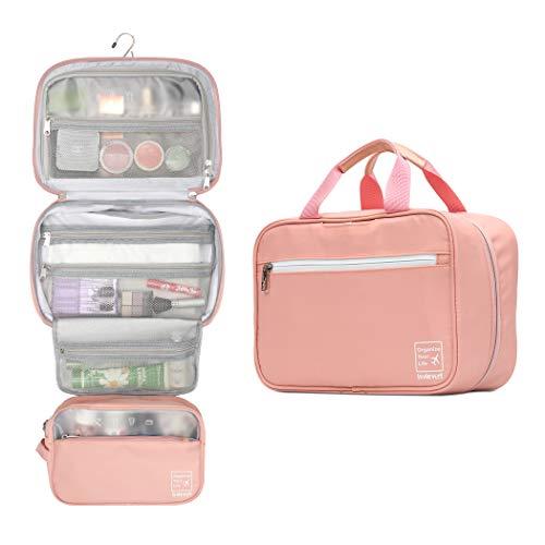 Lavievert Hängende Kulturtasche Make-up Organizer Kosmetiktasche Wasserdicht Reise Zubehör Dopp Kit für Damen und Herren (Pink)