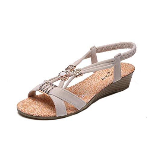 HARRYSTORE Frauen Bohemia Style Wedges Schuhe Perlen Freizeit Sandalen Peep-Toe Outdoor Schuhe Sandalen (38, Weiß) (Brown Junioren Sandalen)
