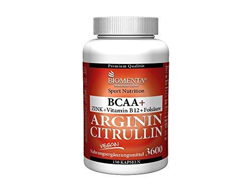 Biomenta L-ARGININ + CITRULLIN   VEGAN   3.000 mg L-Arginin BASE + 620 mg L-Citrullin + 1.000 mg BCAA + Zink   OHNE TRENNMITTEL   150 L-Arginin-Kapseln