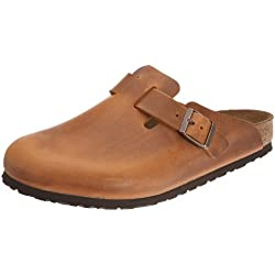 Birkenstock Boston 760871 - Zuecos de piel natural unisex, color marrón, talla 43