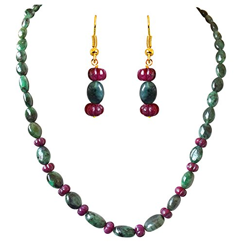 Surat Diamond Single Line Real Oval Green Emerald & Flower Shaped Red Ruby Beads Necklace Earring Set for Women (SN688)  available at amazon for Rs.3599