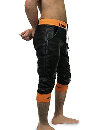 Bockle® Loosely Schwarze Herren kurze Lederhose mit Stretchbund Leder Short  Schwarz ... c9e9d429f4