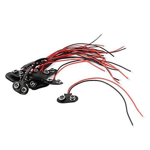 Preisvergleich Produktbild 15st 15cm Draht Blei 9V 9-Volt-Batterie-Clip Stecker Anschluss I Typ