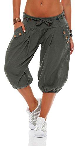 Malito Damen Pumphose in Unifarben | lässige Kurze Hose | Bermuda für den Strand | Haremshose - Pants 3416 (Oliv)
