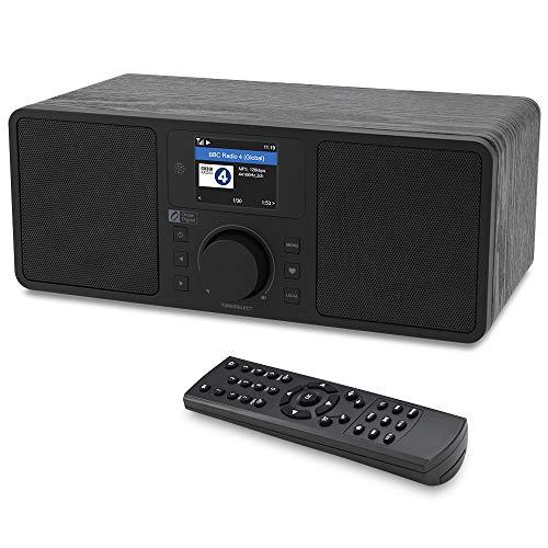 Ocean Digital WiFi/DAB/FM Internet Radio WR230S Bedside Wecker-Radio mit Bluetooth-Empfänger und Ethernet-Anschluss, Stereo-Lautsprecher, Line-Out, Aux-In,- Schwarz in Holz