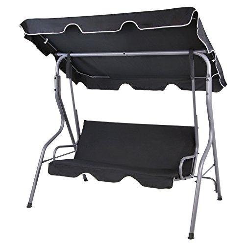 BB Sport 3-Sitzer Hollywoodschaukel mit abnehmbarem und neigbarem Sonnendach Gartenschaukel für 3 Personen Schutzhülle optional, Farbe:Titanschwarz*
