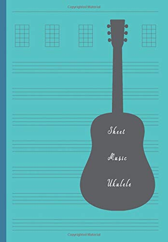 Sheet Music Ukulele: Composition and Songwriting Ukulele Music Song with Chord Boxes and Lyric Lines Tab Blank Notebook Manuscript Paper Journal ... for Beginners or Musician Blue Color Cover - Cord-a-line-top