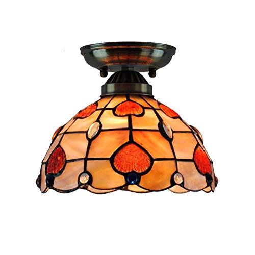 2-Licht grünes Licht Tiffany-Stil Semi-Flush Deckenleuchte, 8-Zoll-Glück Herz Muster Farbe Shell Schatten Deckenleuchte für Ganglichter in Restaurant-Bars (Küche Leichte Anhänger 2 Insel)