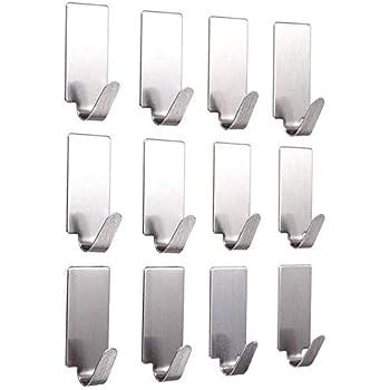 HOKIPO Multipurpose Small Rectangular Stainless Steel Adhesive Hooks - Load Capacity Upto 1 Kg - Set of 12