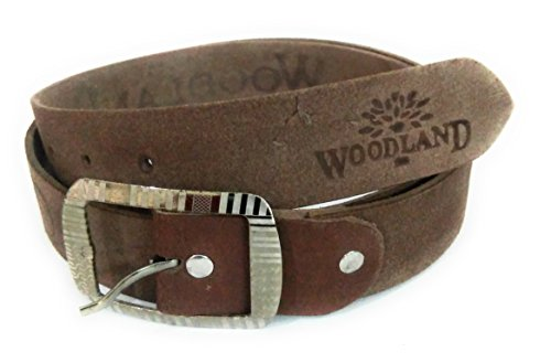 HUNK CASUAL FORMAL TAN LEATHER BELT FOR MEN WOODLAND (32W x 34L)