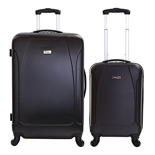 Karabar set di 2 trolley bagaglio a mano e da stiva valigie rigida leggera - grande XL 76 cm 4,4 kg 100 litri - piccolo S 55 cm 2,4 kg 35 litri - con 4 ruote robuste, Evora Nero