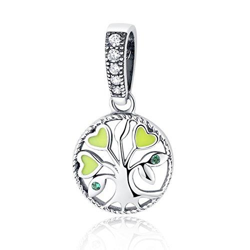 Christmas gifts pendente famiglia albero della vita in argento sterling ciondolo cuore in smalto verde con gioielli braccialetto europeo adatto
