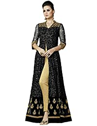 Desinger Net Black Color Embroidered Anarkali Suit - B07D7521QY