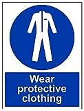 vsafety 41068bc-s indossare indumenti protettivi obbligatoria DPI, Autoadesivo, segno, verticale, 300mm x 400mm, colore: blu