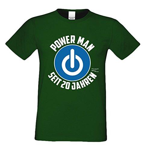 Geschenk zum 20. Geburtstag Herren T-Shirt und Geburtstags Urkunde Power Man Seit 20 Jahren Geschenkidee Männer grün_06