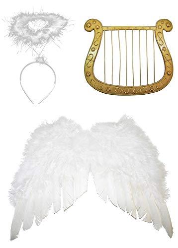 Das Kostümland Engel Set 3-TLG. für Weihnachten - Klein Flügelbreite 40 cm - Engelsflügel, Heiligenschein und - Engel Harfe Kostüm