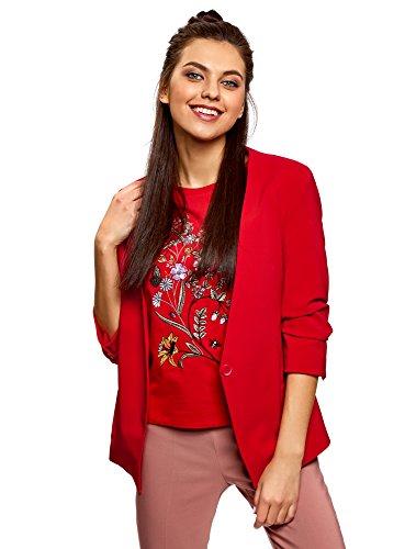 oodji Ultra Damen Taillierter Blazer mit 3/4-Arm, Rot, DE 42 / EU 44 / XL
