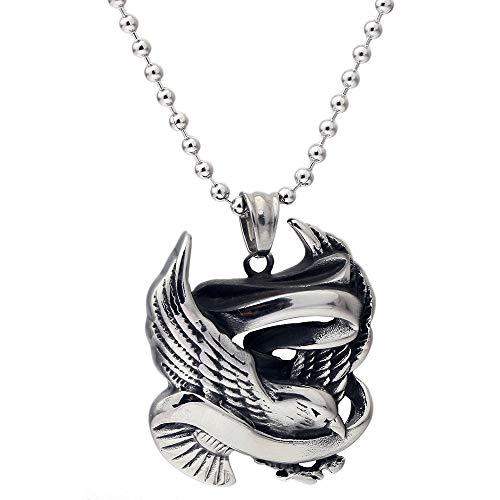 JMZDAW Halskette Anhänger Neue Retro Safe Messenger Anhänger Flut Männer Titan Stahl Schmuck Mode Männer Fliegende Taube Teaser Halskette, Stahlfarbe -