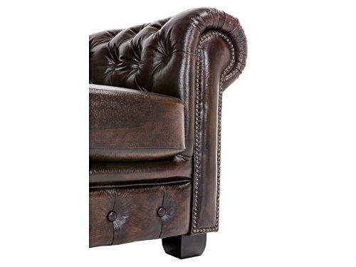Woodkings® Chesterfield Sofa 2-Sitzer braun Vintage Echtleder Couch Bürosofa Polstermöbel 2er antik Unikat Herrenzimmer englisches Ledersofa Stilsofa