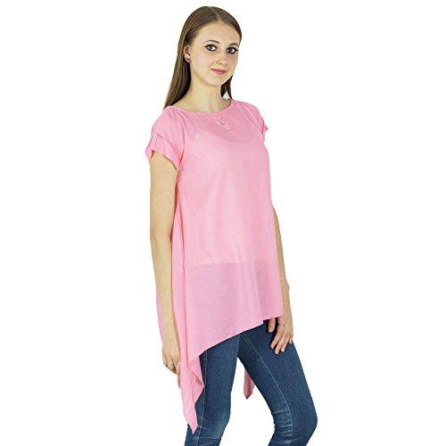 Summer Casual Tunique Manches Courtes Sundress Vêtements Top Rose