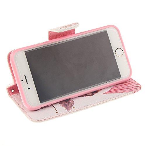 Linvei iPhone 6 /iPhone 6S handyhülle Leder mit Wallet Ständer Cover für iPhone 6 (4.7 zoll) Giraffe
