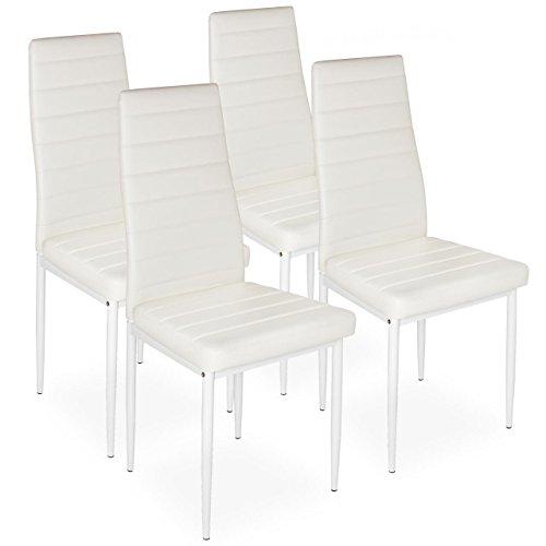 Homelux 4er-Set Stühle Esszimmerstühle Polsterstuhl (T x B x H) 43 x 43 x 97,5 cm Weiss (Weiß Polsterstuhl)