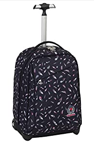 TROLLEY - INVICTA - FLORET - 2in1 Wheeled Backpack with disappearing shoulder straps - Black 35Lt from Invicta