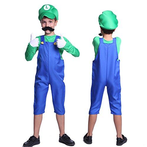 Anladia - Disfraz de Super Mario Brothers Luigi para niño Cosplay Dress Fiesta Carnaval Halloween Talla S (90-100cm) Talla M (110-120cm) (S (90-100cm))