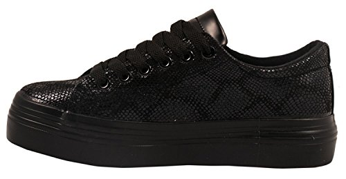 Elara Damen Plateau Sneakers | Sportlich Bequeme Schuhe | Schnürer Schwarz Paris