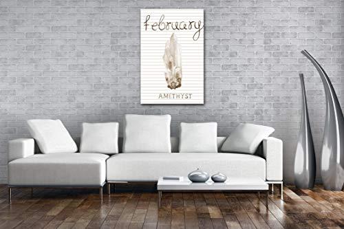 deyoli Amethyst – Monatsstein für den Februar Effekt: Sepia als Leinwand, Motiv fertig gerahmt auf Echtholzrahmen, Hochwertiger Digitaldruck mit Rahmen, Kein Poster oder Plakat