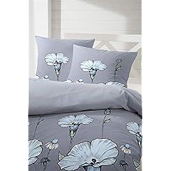 Primera Edelflanell Biber Bettwäsche 135x200 Blumen grau blau 174121-83